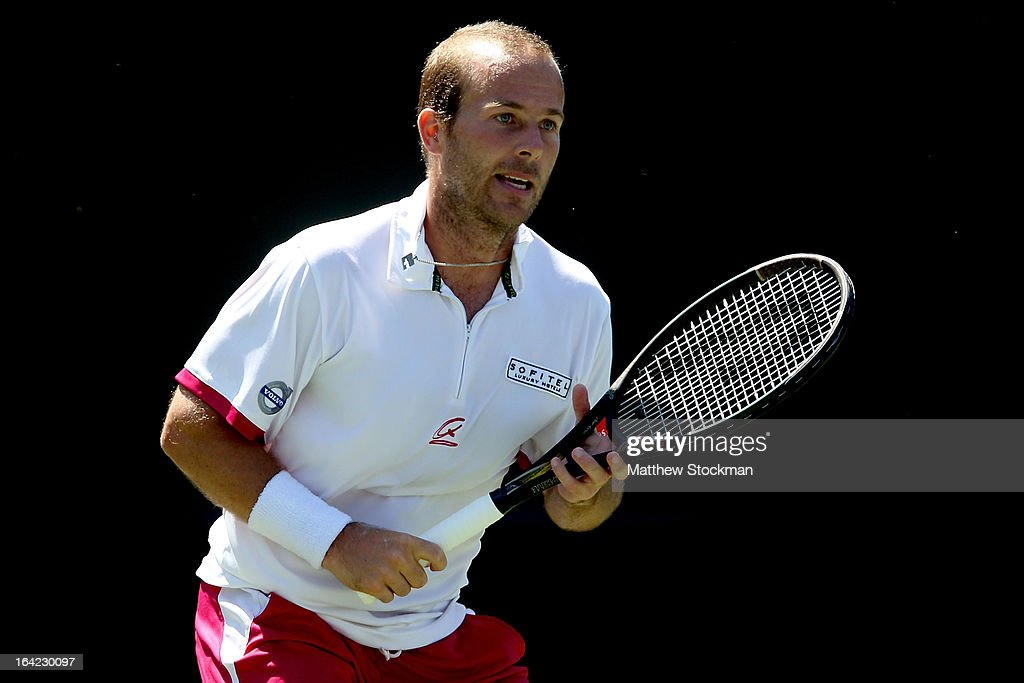 Olivier Rochus of Belgium plays Tatsuma Ito of Japan during the Sony Open at Crandon Park Tennis Center on March 21, 2013 in Key Biscayne, Florida.