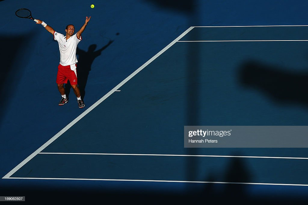<a gi-track='captionPersonalityLinkClicked' href=/galleries/search?phrase=Olivier+Rochus&family=editorial&specificpeople=213168 ng-click='$event.stopPropagation()'>Olivier Rochus</a> of Belgium serves during his first round match against Albert Ramos of Spain during day one of the Heineken Open at ASB Tennis Centre on January 7, 2013 in Auckland, New Zealand.
