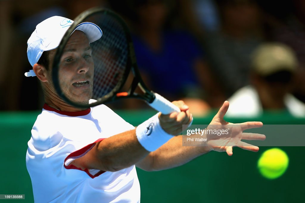 Olivier Rochus of Belguim plays a forehand in his second round match against Sam Querrey of the USA during day three of the Heineken Open at the ASB Tennis Centre on January 9, 2013 in Auckland, New Zealand.