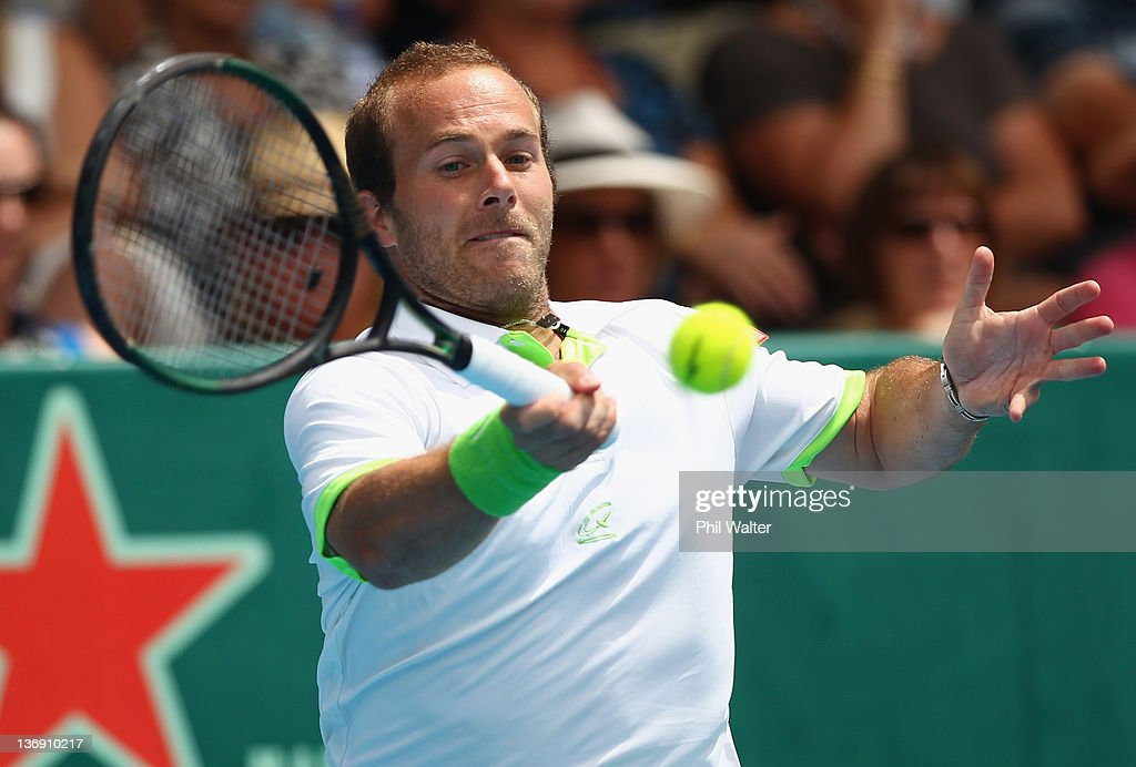 Olivier Rochus of Belguim plays a shot in his singles match against Philipp Kohlschreiber of Germany during day five of the 2012 Heineken Open at the ASB Tennis Centre on January 13, 2012 in Auckland, New Zealand.