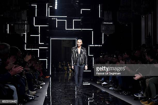 Olivier Rousteing acknowledges the audience during the Balmain Menswear Fall/Winter 20172018 show as part of Paris Fashion Week on January 21 2017 in...