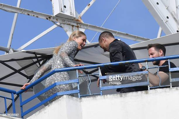 Olivier Rousteing and Doutzen Kroes are spotted during the 70th annual Cannes Film Festival at on May 24 2017 in Cannes France
