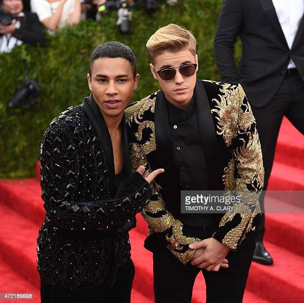 Olivier Rousteing and Justin Bieber arrive at the 2015 Metropolitan Museum of Art's Costume Institute Gala benefit in honor of the museums latest...