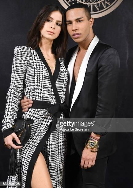 Olivier Rousteing and Lena Meyer Landrut attends the L'Oreal Paris X Balmain event as part of the Paris Fashion Week Womenswear Spring/Summer 2018 on...