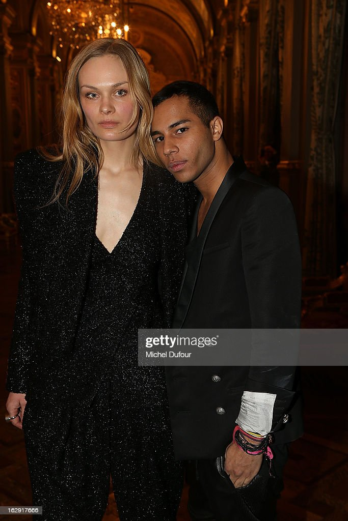Olivier Rousteing and model attend Swarovski 'Paris Haute Couture' Exhibition as part of Paris Fashion Week on February 28, 2013 in Paris, France.