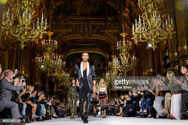 Olivier Rousteing and models walk the runway at the end of the Balmain show as part of the Paris Fashion Week Womenswear Spring/Summer 2018 on...