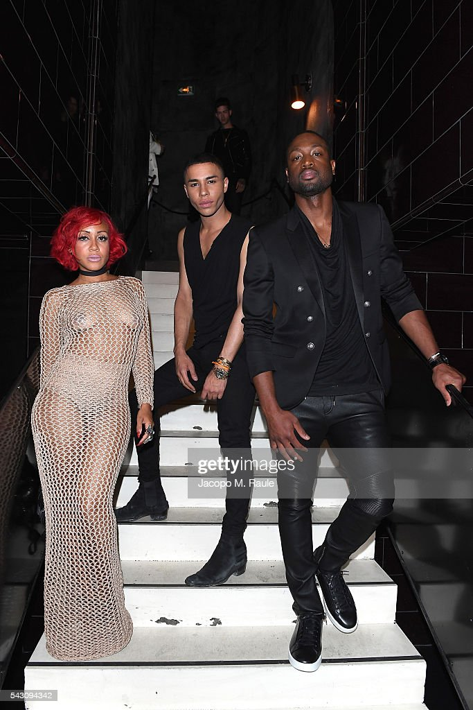 Olivier Rousteing, <a gi-track='captionPersonalityLinkClicked' href=/galleries/search?phrase=Dwyane+Wade&family=editorial&specificpeople=201481 ng-click='$event.stopPropagation()'>Dwyane Wade</a> and guest attend the Balmain Menswear Spring/Summer 2017 after party as part of Paris Fashion Week at Les Bains on June 25, 2016 in Paris, France.