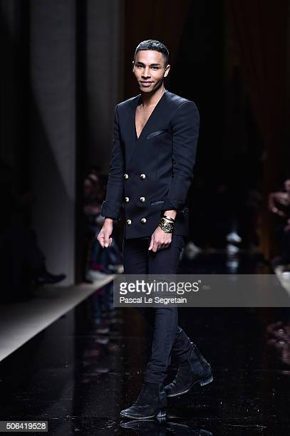Olivier Rousteing poses on the runway during the Balmain Menswear Fall/Winter 20162017 show as part of Paris Fashion Week on January 23 2016 in Paris...