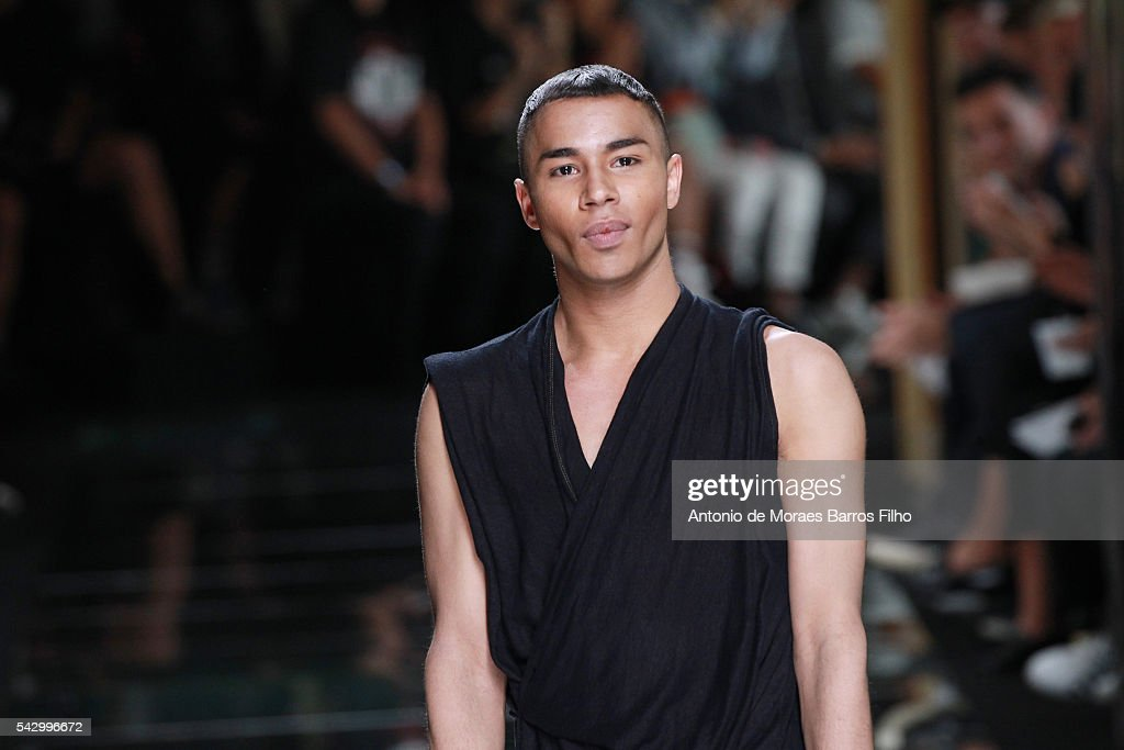 Olivier Rousteing walks the runway during the Balmain Menswear Spring/Summer 2017 show as part of Paris Fashion Week on June 25, 2016 in Paris, France.