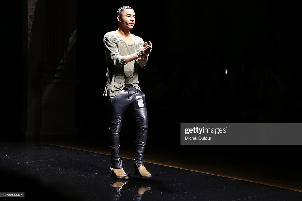 Olivier Rousteing walks the runway during the Balmain show as part of the Paris Fashion Week Womenswear Fall/Winter 2014-2015 on February 27, 2014 in Paris, France.