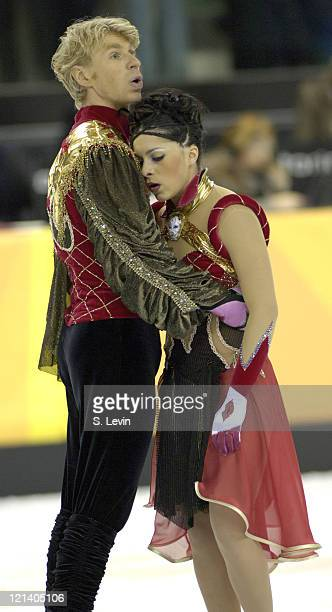 Olivier Schoenfelder and Isabelle Delobel of France at the conclusion of their routine during the Ice Dancing Free Skate Program at the 2006 Olympic...