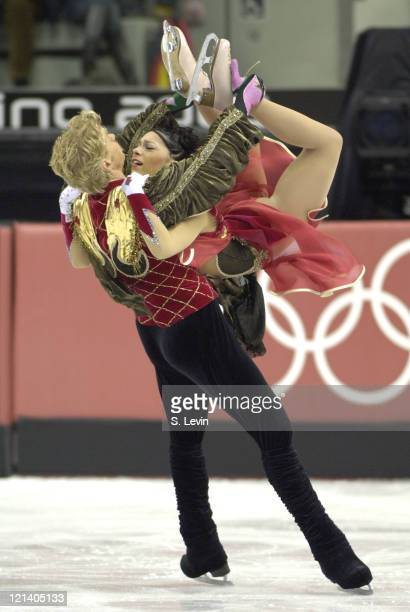 Olivier Schoenfelder and Isabelle Delobel of France during the Ice Dancing Free Skate Program at the 2006 Olympic Games at the Palavela in Torino...