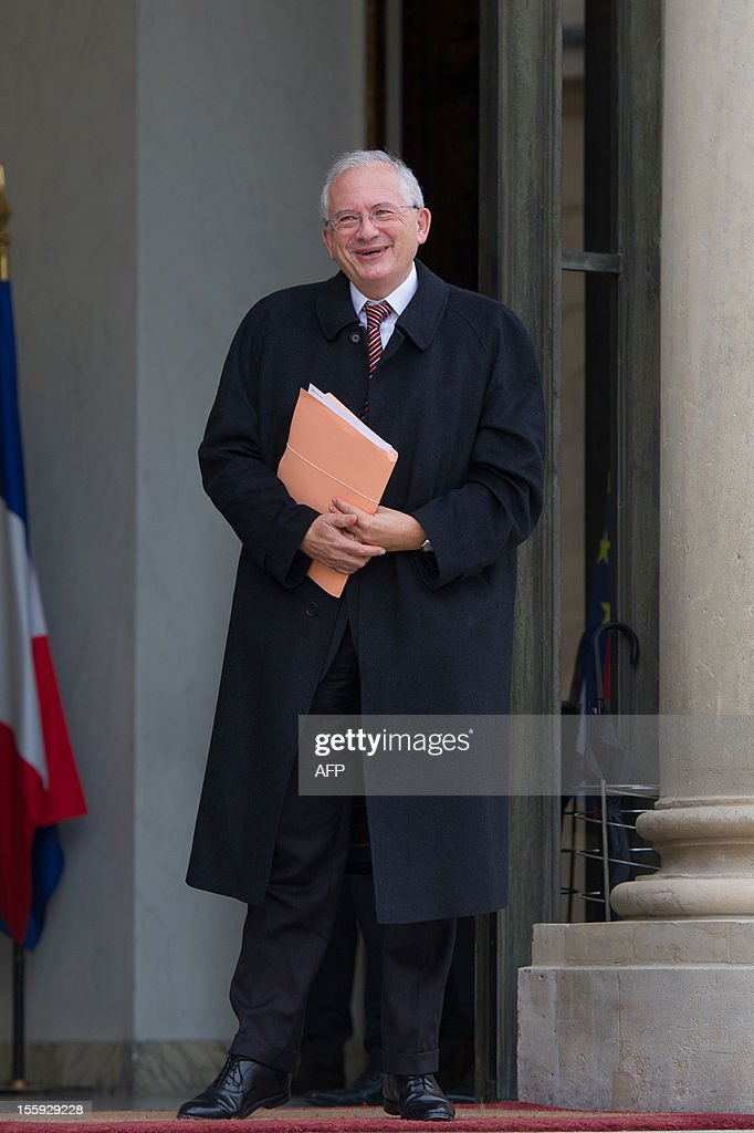 Olivier Schrameck, President of Reports and Studies at the higher administrative court, the Council of State, leaves after a meeting with France's President on a report about France's Renovation and Moralization of the political scene at the Elysee Palace on November 9, 2012 in Paris.
