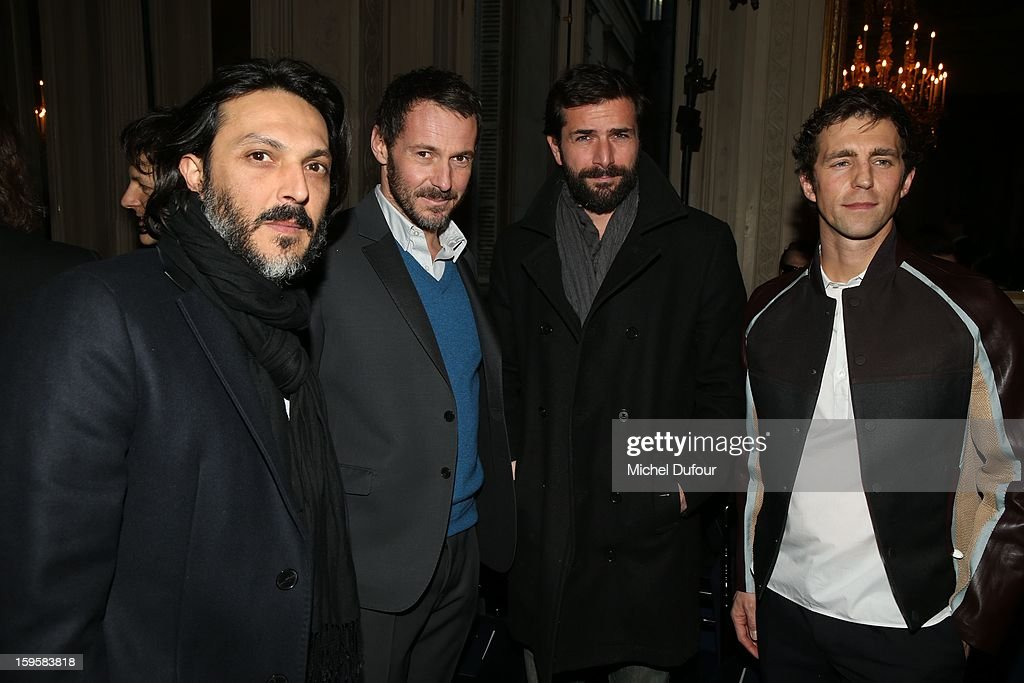 Olivier Sitruk, Julien Boisselier, Gregory Fitoussi and James Marshall attend the Valentino Men Autumn / Winter 2013 show as part of Paris Fashion Week on January 16, 2013 in Paris, France.