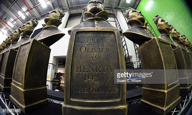 Olivier Statuettes are seen during preparations ahead of the Olivier Awards which take place on Sunday at The Royal Opera House on March 29 2016 in...