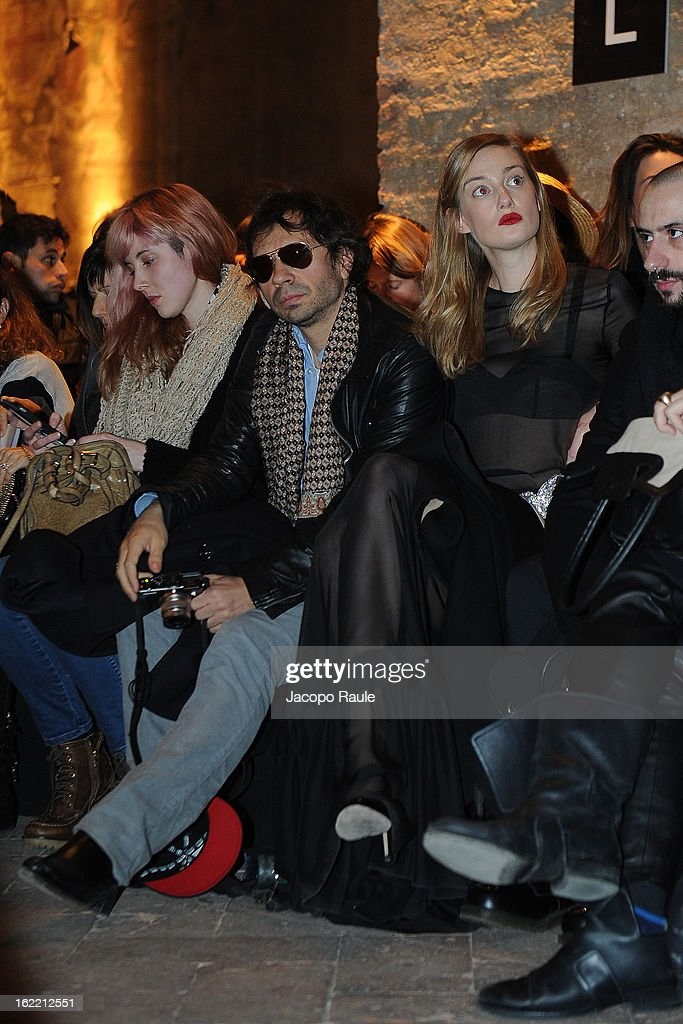 Olivier Zahm and <a gi-track='captionPersonalityLinkClicked' href=/galleries/search?phrase=Eva+Riccobono&family=editorial&specificpeople=885062 ng-click='$event.stopPropagation()'>Eva Riccobono</a> attend Francesco Scognamiglio show during Milan Fashion Week Womenswear Fall/Winter 2013/14 on February 20, 2013 in Milan, Italy.
