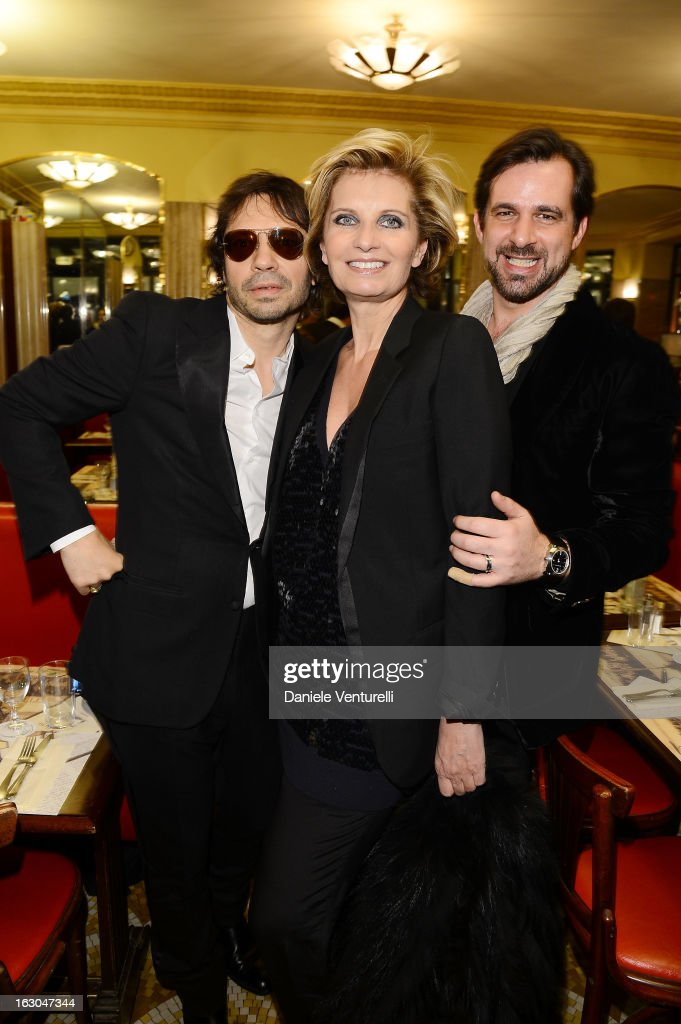 Olivier Zahm, Sabina Belli and Stephane Gerschel attend the Bulgari And Purple Magazine Party at Cafe de Flore on March 3, 2013 in Paris, France.