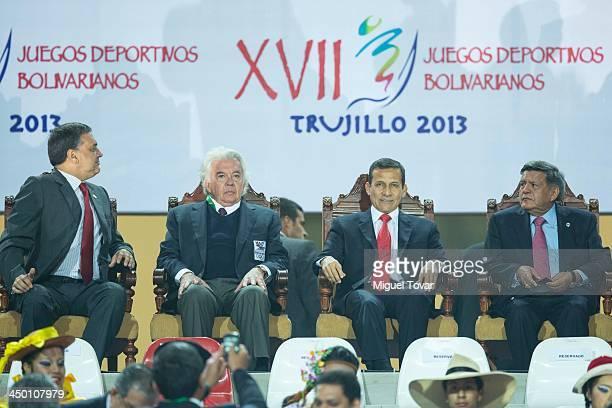 Ollanta Humala president of Peru attends during the inauguration day of the XVII Bolivarian Games Trujillo 2013 at Chan Chan Stadium on November 16...