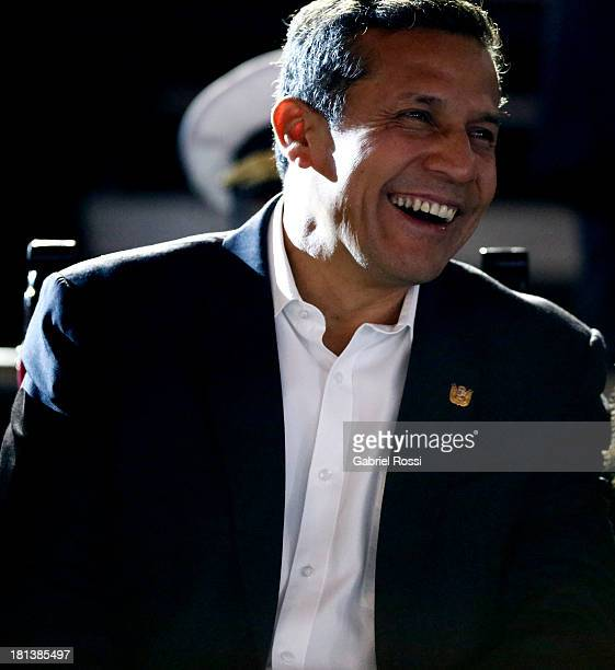 Ollanta Humala President of Peru smiles during the Opening Ceremony of the I ODESUR South American Youth Games at Plaza de Armas on September 20 2013...