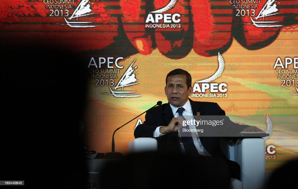 Ollanta Humala, president of Peru, speaks during a panel discussion at the Asia-Pacific Economic Cooperation (APEC) CEO Summit in Nusa Dua, Bali, Indonesia, on Sunday, Oct. 6, 2013. Global growth will probably be slower and less balanced than desired, ministers from the APEC member economies said as they agreed to refrain from raising new barriers to trade and investment. Photographer: SeongJoon Cho/Bloomberg via Getty Images