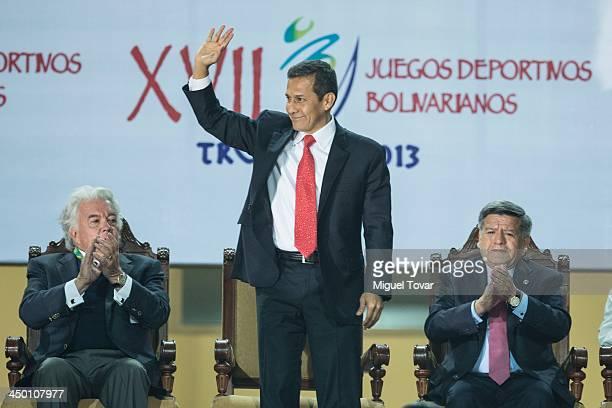 Ollanta Humala president of Peru waves during the inauguration day of the XVII Bolivarian Games Trujillo 2013 at Chan Chan Stadium on November 16...