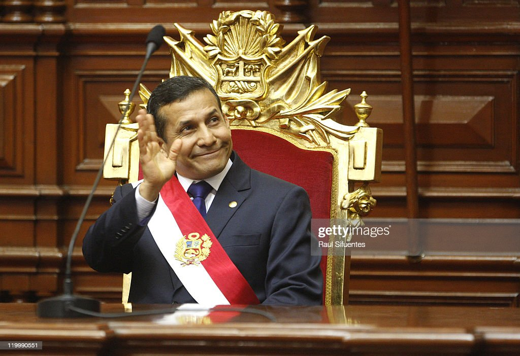 <a gi-track='captionPersonalityLinkClicked' href=/galleries/search?phrase=Ollanta+Humala&family=editorial&specificpeople=588227 ng-click='$event.stopPropagation()'>Ollanta Humala</a> takes office as president in Peru on July 28, 2011 in Lima, Peru. He was elected as the new Peruvian president after winning the ballotage agains Keiko Fujimori on June 5. Replaces Alan Garcia.