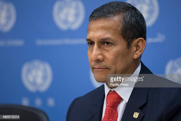 Ollanta Humala Tasso of Peru during a press briefing on Climate Change at UN Headquarters in New York