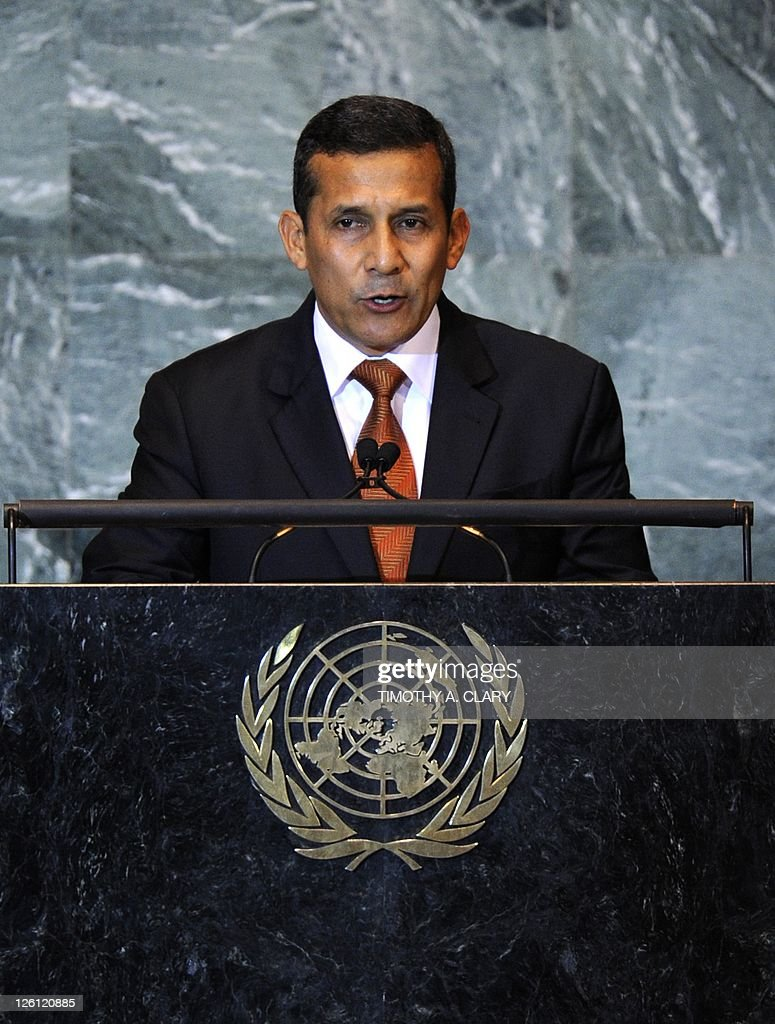 Ollanta Humala Tasso, President of Peru, addresses the 66th General Assembly on September 22, 2011 at the United Nations in New York.