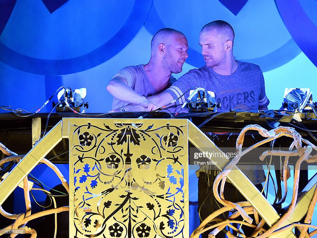 Olle Corneer (L) and Stefan Engblom of Dada Life perform at the 17th annual Electric Daisy Carnival at Las Vegas Motor Speedway on June 22, 2013 in Las Vegas, Nevada.