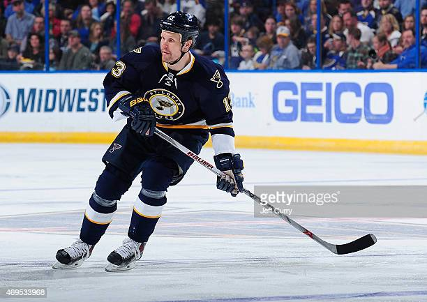 Olli Jokinen of the St Louis Blues skates against the Vancouver Canucks on March 30 2015 at Scottrade Center in St Louis Missouri