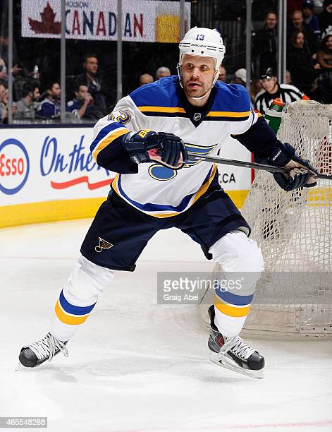 Olli Jokinen of the St Louis Blues skates during NHL game action against the Toronto Maple Leafs March 7 2015 at the Air Canada Centre in Toronto...