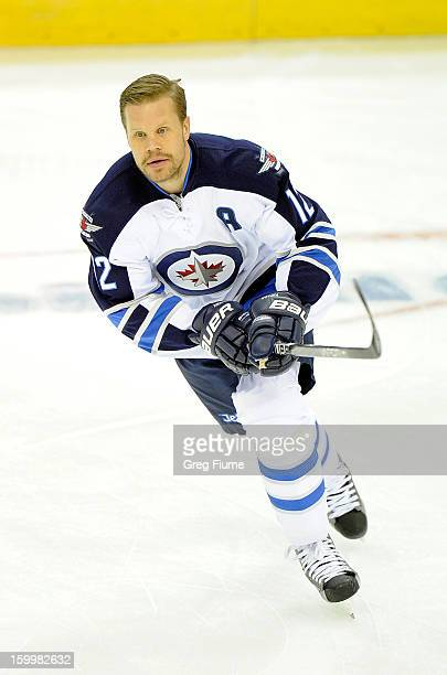 Olli Jokinen of the Winnipeg Jets warms up before the game against the Washington Capitals at the Verizon Center on January 22 2013 in Washington DC