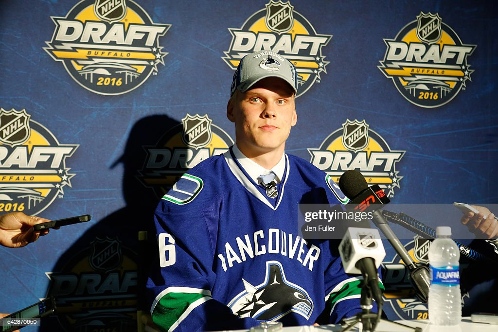 <a gi-track='captionPersonalityLinkClicked' href=/galleries/search?phrase=Olli+Juolevi&family=editorial&specificpeople=15073944 ng-click='$event.stopPropagation()'>Olli Juolevi</a> gives an interview after being selected fifth overall during round one of the 2016 NHL Draft on June 24, 2016 in Buffalo, New York.