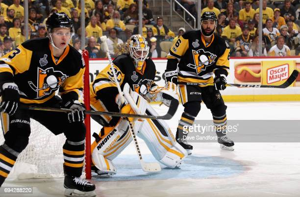 Olli Maatta Matt Murray and Trevor Daley of the Pittsburgh Penguins plays against the Nashville Predators during the third period of Game Five of the...