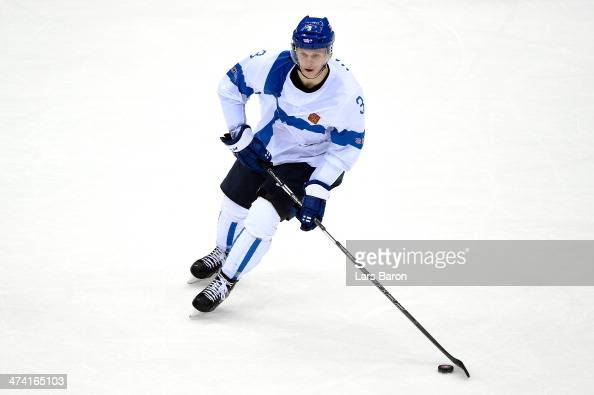 Olli Maatta of Finland handles the puck in the second period against the United States during the Men's Ice Hockey Bronze Medal Game on Day 15 of the...