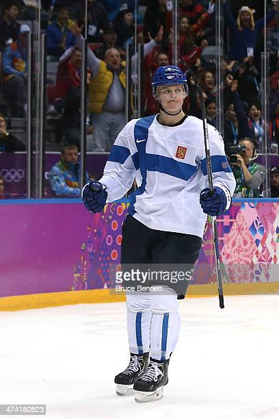 Olli Maatta of Finland reacts after scoring in the third period against the United States during the Men's Ice Hockey Bronze Medal Game on Day 15 of...