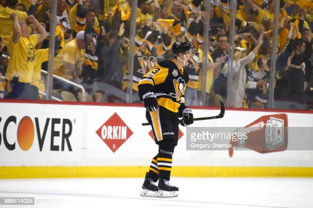 Olli Maatta of the Pittsburgh Penguins celebrates after scoring a goal against Craig Anderson of the Ottawa Senators during the first period in Game...