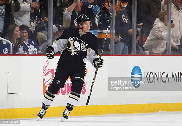 Olli Maatta of the Pittsburgh Penguins celebrates his goal during the first period against the Toronto Maple Leafs at Consol Energy Center on October...