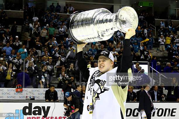 Olli Maatta of the Pittsburgh Penguins celebrates with the Stanley Cup after their 31 victory to win the Stanley Cup against the San Jose Sharks in...