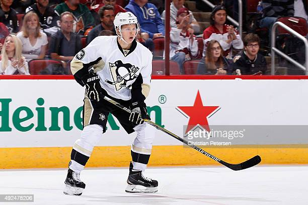 Olli Maatta of the Pittsburgh Penguins in action during the NHL game against the Arizona Coyotes at Gila River Arena on October 10 2015 in Glendale...