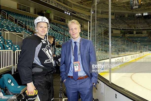 Olli Maatta of the Pittsburgh Penguins poses with Top Prospect Patrik Laine prior to media availability for the 2016 NHL Draft Top Prospects prior to...