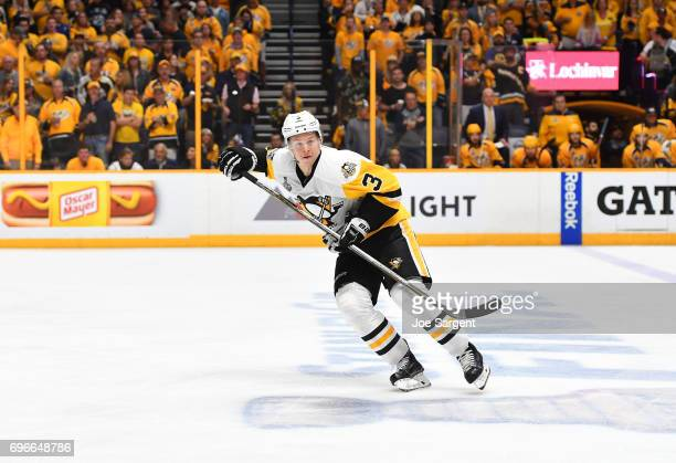 Olli Maatta of the Pittsburgh Penguins skates in the neutral zone during the second period of Game Six of the 2017 NHL Stanley Cup Final at the...