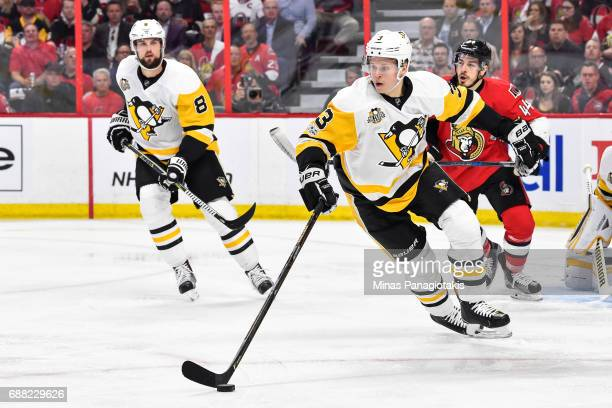 Olli Maatta of the Pittsburgh Penguins skates the puck against the Ottawa Senators in Game Six of the Eastern Conference Final during the 2017 NHL...