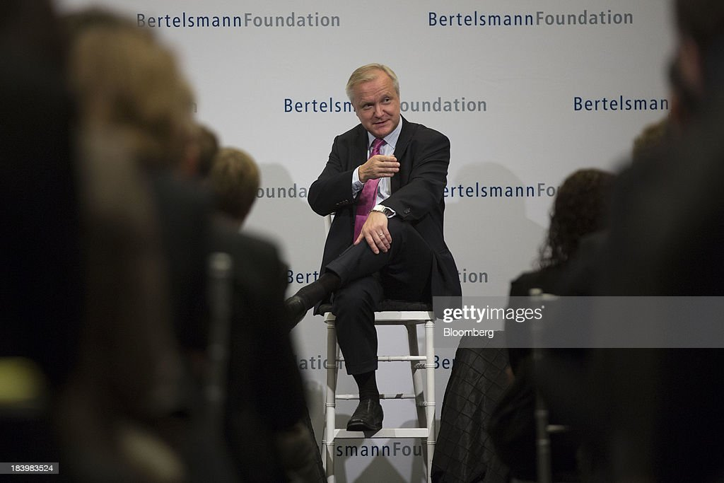 <a gi-track='captionPersonalityLinkClicked' href=/galleries/search?phrase=Olli+Rehn&family=editorial&specificpeople=584845 ng-click='$event.stopPropagation()'>Olli Rehn</a>, economic and monetary affairs commissioner for the European Union (EU), speaks during a panel discussion on the sidelines of the International Monetary Fund (IMF) and World Bank Group Annual Meetings in Washington, D.C., U.S., on Thursday, Oct. 10, 2013. Politicians in Washington need to show leadership in resolving a political deadlock on the budget that risks damaging the country's economy and the rest of the world, International Monetary Fund Managing Director Christine Lagarde said today. Photographer: Andrew Harrer/Bloomberg via Getty Images