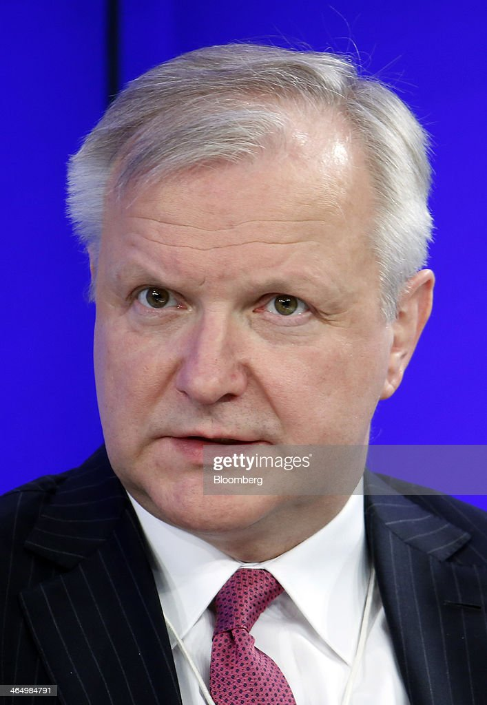 <a gi-track='captionPersonalityLinkClicked' href=/galleries/search?phrase=Olli+Rehn&family=editorial&specificpeople=584845 ng-click='$event.stopPropagation()'>Olli Rehn</a>, economic and monetary affairs commissioner for the European Union (EU), speaks during a panel session on day four of the World Economic Forum (WEF) in Davos, Switzerland, on Saturday, Jan. 25, 2014. World leaders, influential executives, bankers and policy makers attend the 44th annual meeting of the World Economic Forum in Davos, the five day event runs from Jan. 22-25. Photographer: Jason Alden/Bloomberg via Getty Images