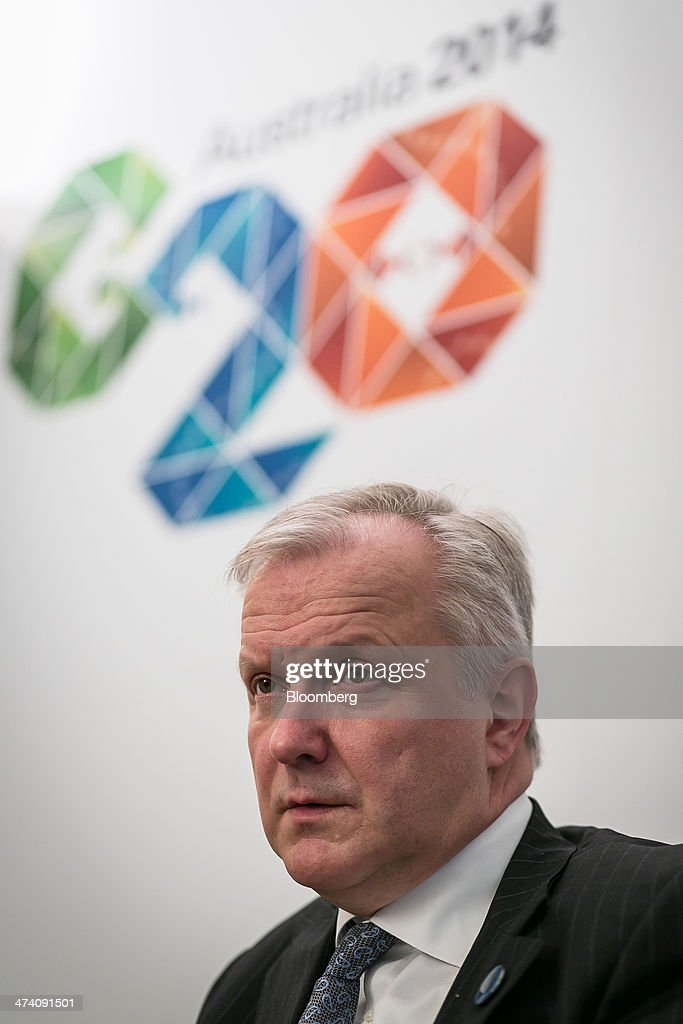 <a gi-track='captionPersonalityLinkClicked' href=/galleries/search?phrase=Olli+Rehn&family=editorial&specificpeople=584845 ng-click='$event.stopPropagation()'>Olli Rehn</a>, economic and monetary affairs commissioner for the European Union (EU), speaks during an interview ahead of a Group-of-20 (G-20) Finance Ministers and Central Bank Governors meeting in Sydney, Australia, on Saturday, Feb. 22, 2014. Rehn said in an interview 'it makes sense to set a bold growth target' on the condition that the G-20 final statement agrees on economic reforms and policies that enable reaching that goal. Photographer: Ian Waldie/Bloomberg via Getty Images
