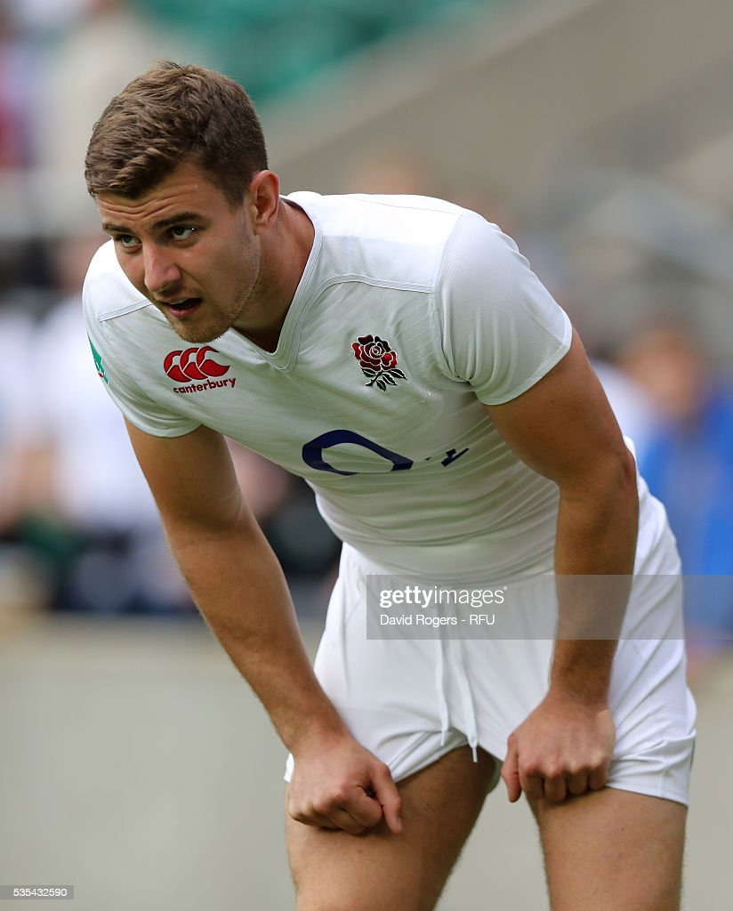 Ollie Devoto of England looks on during the England v Wales International match at Twickenham Stadium on May 29, 2016 in London, England.