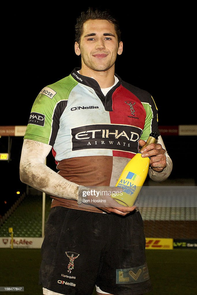 Ollie Lindsay-Hague with his man of the match award during the Aviva 'A' league match between Harlequins and Saracens Storm at the Twickenham Stoop on December 17, 2012 in London, England.