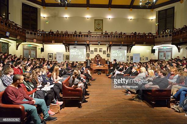Ollie Locke addresses students during a Comedy Debate at The Cambridge Union on February 12 2015 in Cambridge Cambridgeshire