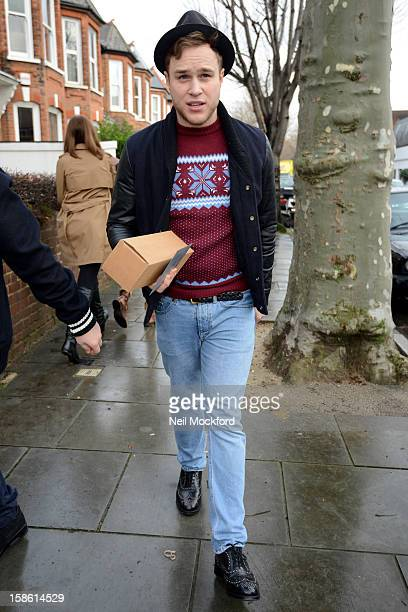 Ollie Murs seen arriving at Fearne Cotton's house for a BBC Radio One Christmas show on December 21 2012 in London England